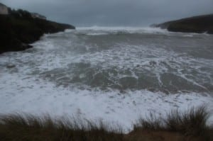 The sea on a high spring tide driven by gales reaching up to the dunes